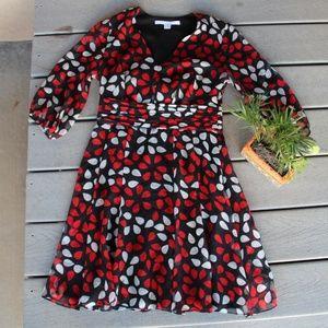 Diane Von Furstenberg Red Teardrop Geometric Dress